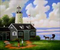 Lighthouse Visitor, Quality Hand Painted Oil Painting, , 20x24in