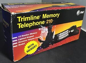 AT&T Trimline Memory Phone 210 Black New In Box With Manual