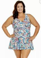 Chaps Womens Plus 22W Paisley Ruffle Swimdress Swimwear Lined Slimming Fit $100