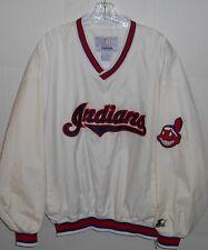 Vtg Genuine Starter Indians PU Coating White Pullover Sport Jacket Men's XL