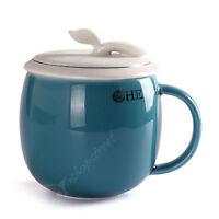 300ml Restorative Skyblue Ceramic Porcelain Tea Mug Cup with lid Infuser Filter