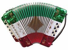 Rossetti 3412 34 Button 3 Switch 12 Bass GCF Sol Accordion - Red White Green