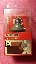 """23154, Vermont American Router Bit, Carbide Tipped 3/16"""" Classical 1/4 """" Shank"""