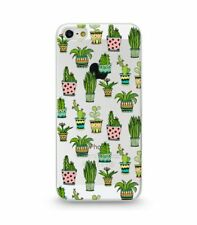Coque Gel Iphone 5 5S SE Cactus Tropical Exotique Aztec Vert Fleur