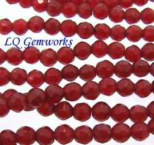 "15.5"" Strand RUBY RED JADE 4mm Faceted Round Beads BOGO"