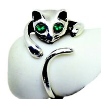 """ORIGINAL"" Adorable Cat Ring - GREEN Crystal Eyes – Adjustable - FREE Gift Box"