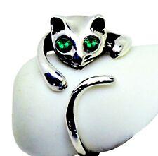 """ORIGINAL"" Adorable Cat Ring - GREEN Crystal Eyes – Adjustable - FREE Gift Box"