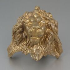 Antique French Gilded Bronze Ornament, Lion's Head