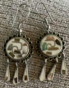 VINTAGE HANDCRAFTED MEXICAN ABALONE ALPACA SILVER DROP EARRINGs