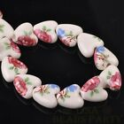 Hot 10pcs 14mm Heart Geramic Loose Spacer Beads Jewerly Making Fuchsia Rose