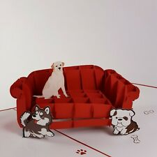 DOGS ON SOFA pop-up greeting card (pet,handmade,beautiful,unique gift/decor/art)