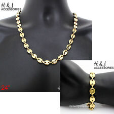 "24""Stainless Steel 10x3mm Gold Puffed Mariner Link Chain Necklace Bracelet*S139"