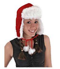 Plush Red Santa Aviator Hat Christmas & Winter Trapper Cap High Quality Elope