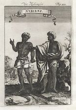 1685 Nubia Nubians People Costume Dress 17th Century Print Engraving Mallet