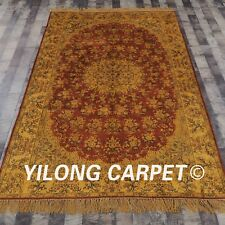 YILONG 5'x8' Handmade Silk Gold Carpet Antique Washed Living Room Area Rug G18C