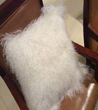 "Handmade Mongolian Fur 18""x18"" Square White Pillow Cushion 45X45cm & fabric back"