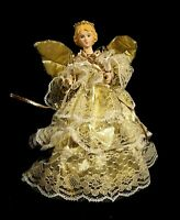 Vintage Lighted Metallic Gold Porcelain Face Christmas Angel Tree Topper w Lace