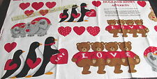 Cranston Valentine Heart Applique Penguin Elephant Fabric Panel dogs Hugs Kiss