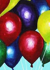COLORFUL BALLOONS ACEO Signed Mini Art Card PRINT of Original Painting by VERN
