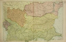 1912 LARGE ANTIQUE MAP ~ TURKEY & GREECE ~ BULGARIA