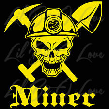 Miner Skull with Hard Hat Pickaxe & Shovel Vinyl Decal Coal Mine MIning Sticker