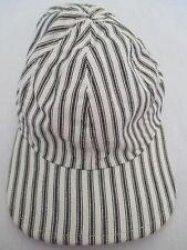 Train Conductor Black White Stretch M/L Size Baseball Cap Hat Great Condition