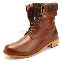 US Winter Men Combat Ankle Boots Leather Shoes Cowboy High-Top Motorcycle