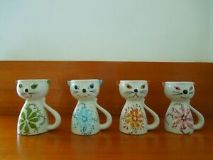 VINTAGE CERAMIC SECLA PORTUGAL PORTUGUESE POTTERY CAT EGG CUPS SET OF 4  VGC