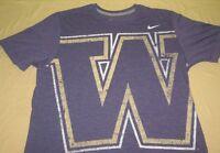 Nike Washington Huskies  NCAA  T  Shirt L Large purple tri blend