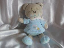 Doudou ours beige et bleu, broderies, Tex