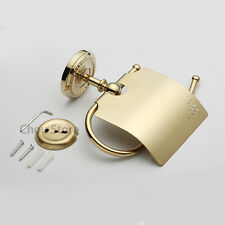 Golden Brass Bathroom Storage Toilet Roll Paper Holder Wall Mount Tissue Rack