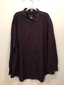blue Pronto Uomo Men Button Up Long Sleeve Dress Shirt Black With Wine Velvet 3X