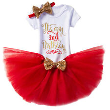 Baby Girl Second 2nd Birthday Outfits Sequin Bow Tutu Romper Party Dress Costume