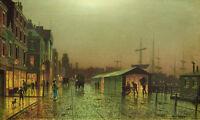 Huge oil painting John Atkinson - Sunset cityscape street scene Hand painted