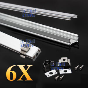 6x 1M Alloy Channel Aluminum Bar Aluminum Profile For LED Strip Light With Cover