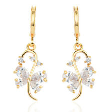 Women Lovely 18K Gold Plated Cubic Zirconia CZ Drop Dangle Earrings Jewelry
