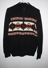 New American Living Black Red Southwest Sweater Boys Size XL 18/20 Partial Zip