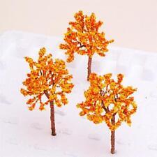 10 FALL WINTER Dollhouse Garden Scene Model Train Flower Tree Layout Orange
