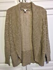 Gently worn, Chico's tan cardigan open front light weight sweater, size 1