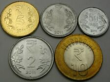 INDIA 50 Paise / 10 Rupees 2011 - Lot of 5 Coins - UNC *