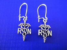 FREE GIFT ** ANTIQUED SILVER DANGLE EARRINGS Small RN (Nurse) Insignia (Long)