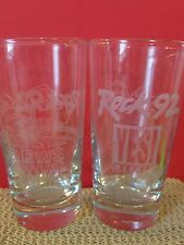 Rock 92 6oz Sampler Etched Glasses Greensboro NC Barware Collectible Gift