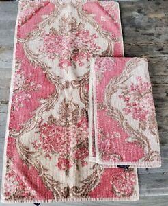 """Pair of Vintage Ralph Lauren Cotton Bath Towels Pink & Beige Floral - 30"""" x 16"""""""