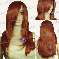 "25"" Heat Resistant Copper Red Long Layer Wavy Cosplay Wigs with Bangs 66350"