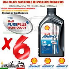6 Litri Olio Motore 4 tempi SHELL ADVANCE ULTRA4 15W50 100% Sintetico API SM MA2