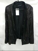 ZARA Black golden Polka Dot Sequin satin lined Tuxedo Blazer Jacket Size S
