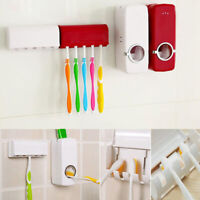 Automatic Toothpaste Dispenser 5 Toothbrush Holder Set Wall Mount Stand Washroom