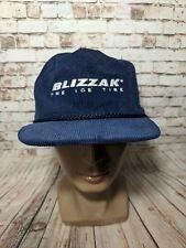VTG Blizzak The Ice Tire Mens Corduroy Navy Blue Snapback Hat Cap Cars trucker
