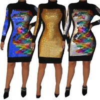 Women Long Sleeve Sequins Bodycon Knee Length Dress High Neck Night Club Party
