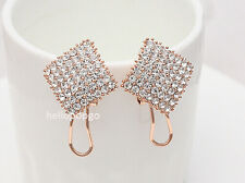 18K Rose Gold GP Austrian Crystal Square Party Wedding Jewelry Earring BR247